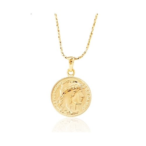 Coin pendant and necklace plated in 18k gold two tone gold plated necklace loading zoom mozeypictures Images