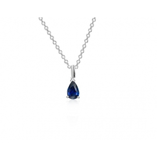 Simulated Sapphire Drop Necklace