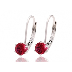 Pink Double-Sided Earrings with Simulated Diamond