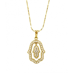 18K Gold Plated Hamsa Pendant and Necklace Set