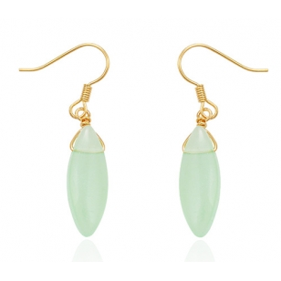 18K Gold Plated Jade Drop Earrings
