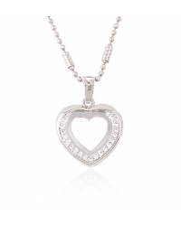 Simulated Diamond Heart Pendant and Necklace