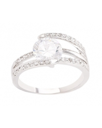 Crossover Simulated Diamond Wedding Ring