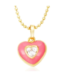 18K Gold Plated Heart Shaped Pendant and Necklace