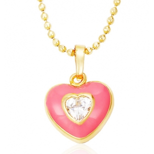 Pink Heart Pendant and Necklace