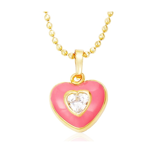 18k gold plated heart shaped pendant and necklace pink heart pendant and necklace loading zoom aloadofball Gallery