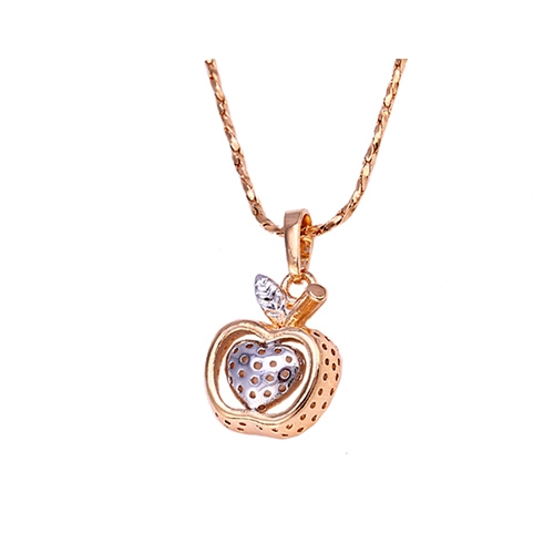 18k gold plated apple pendant and necklace aloadofball Image collections