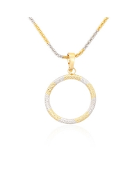 18K Gold Plated Circle Pendant And Necklace