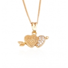 18K Gold Plated Heart and Arrow Necklace