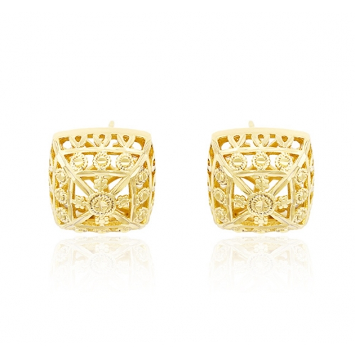 14k Gold Plated Square Earrings Loading Zoom