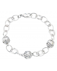Rhodium Plated Ball Bracelet