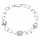 White Gold Plated Ball Bracelet