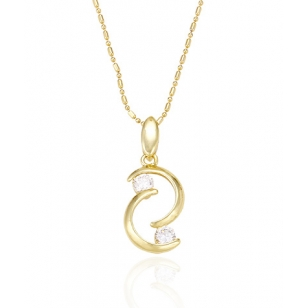 14K Gold Pendant with Simulated Diamonds and Necklace