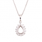 Simulated Diamond Teardrop Pendant