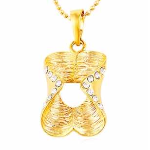 18K Gold Plated Crystal Pendant and Necklace