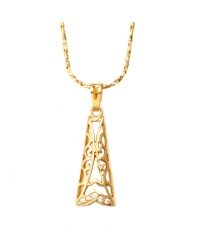 18K Gold Plated Elongated Pendant and Necklace