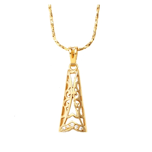 18k gold elongated plated pendant and necklace triangle pendant and necklace set loading zoom mozeypictures Images