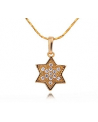 18K Gold Plated Crystal Star Pendant and Necklace Set
