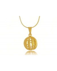 18K Gold Plated Knitted Ball Pendant and Necklace Set