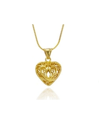 18K Gold Plated Knitted Heart Pendant and Necklace Set