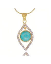 18K Gold Plated Pendant and Necklace Set With Turquoise Stone