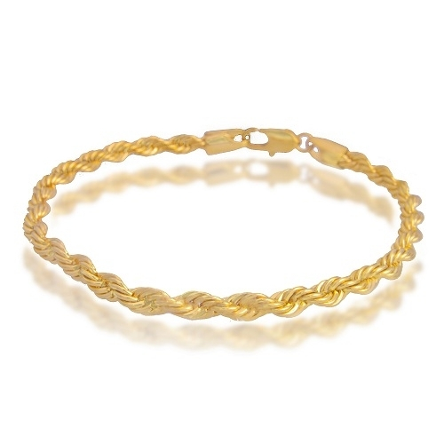 watches quot gold product cut chain diamond rope jewelry bracelet yellow link twisted hollow