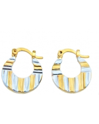 18K Gold Plated Two Tone Textured Hoop Earrings