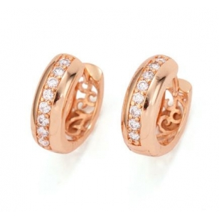 18K Rose Gold Plated And Cubic Zirconia Hoop Earrings