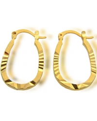 18K Yellow Gold Plated Carved Hoop Earrings