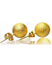 18K Yellow Gold Plated Frosted Ball Earrings
