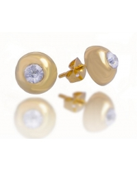 18K Yellow Gold Plated Stud Earrings With Center Stone