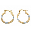 Two Tone Textured 18K Gold Plated Hoop Earrings