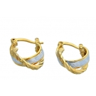 Two Tone Double Band 18K Gold Plated Huggies