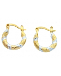 Two Tone 18K Gold Plated Hoop Earrings