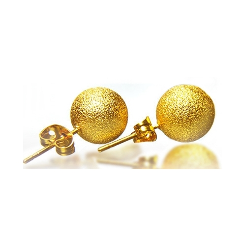 18k Yellow Gold Plated Frosted Ball